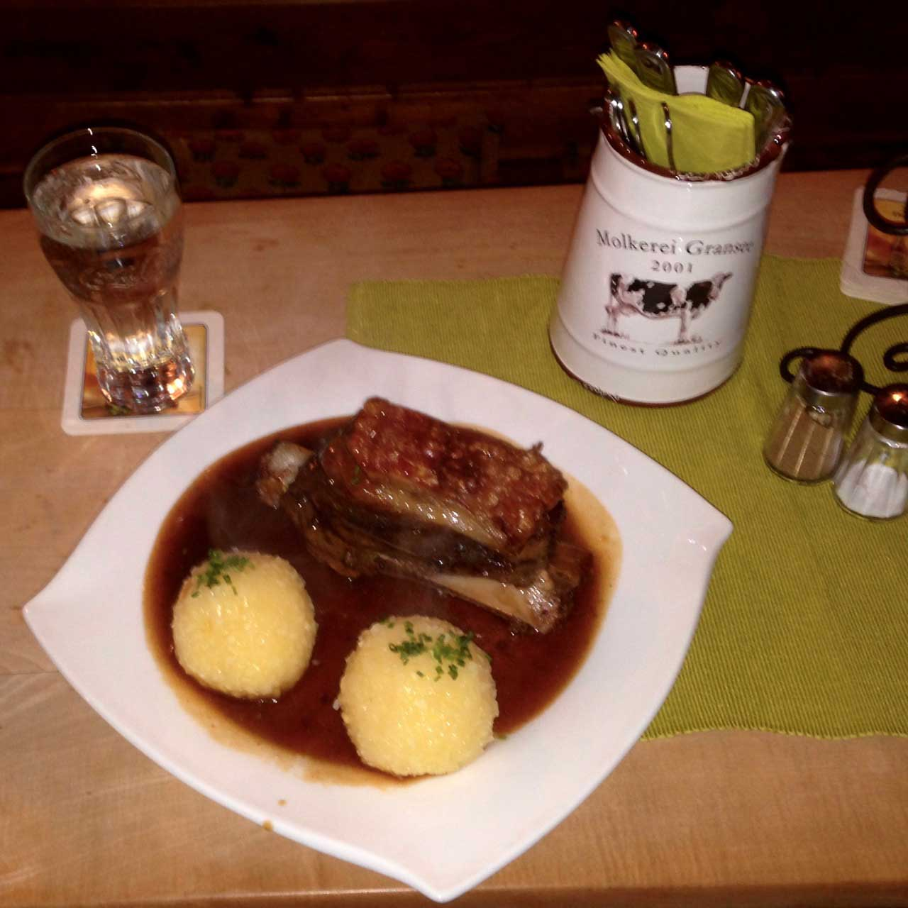Pork shoulder and potato dumplings at Trödelstuben