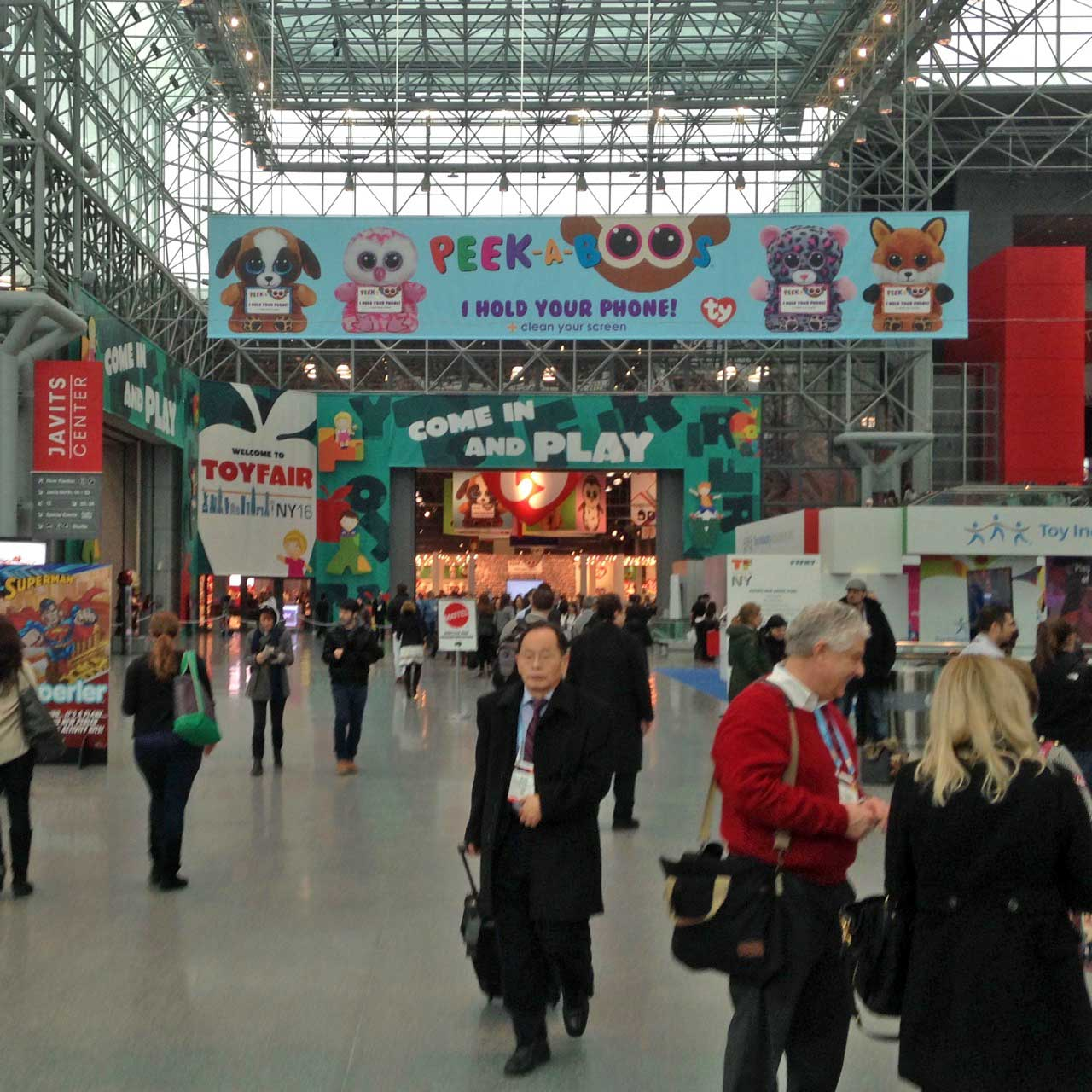 The main entrance area for the toy fair at the Javitz Center