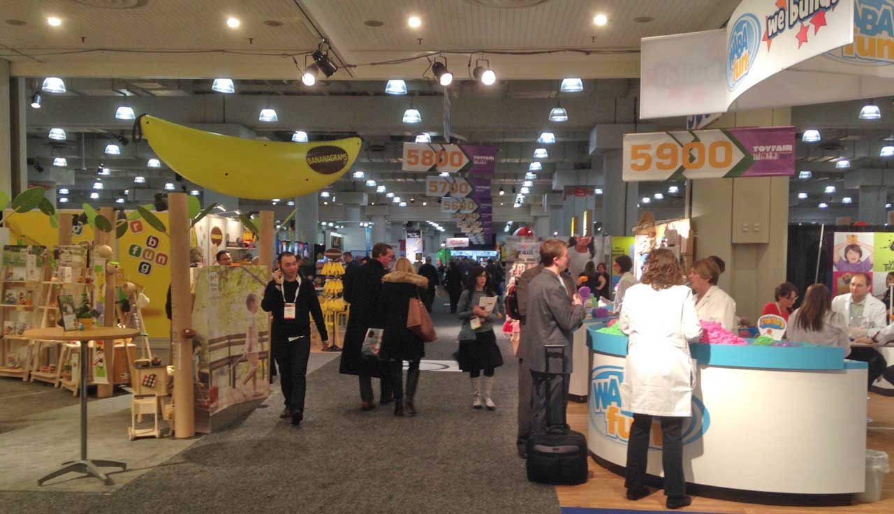The show floor on the first level contains small to medium size toy makers